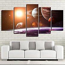 ZHONGZHONG 5 Panel Wall Art Pictures Cosmic Planet