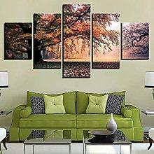 ZHONGZHONG 5 Panel Wall Art Pictures Fall Trees