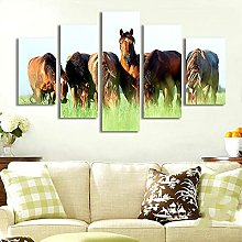 ZHONGZHONG 5 Panel Wall Art Pictures Horse Animal
