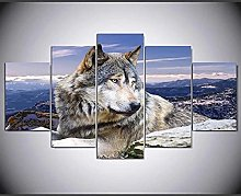 ZHONGZHONG 5 Panel Wall Art Pictures Lonely Wolf
