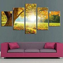 ZHONGZHONG 5 Panel Wall Art Pictures Natural