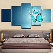 ZHONGZHONG 5 Panel Wall Art Pictures Poster Blue