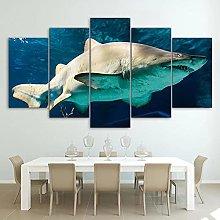 ZHONGZHONG 5 Panel Wall Art Pictures Sea Animal