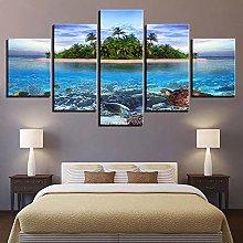 ZHONGZHONG 5 Panel Wall Art Pictures Sea Turtles
