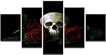 ZHONGZHONG 5 Panel Wall Art Pictures Skull Rose