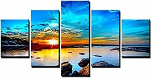 ZHONGZHONG 5 Panel Wall Art Pictures Sunrise