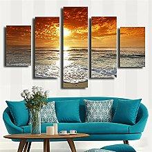 ZHONGZHONG 5 Panel Wall Art Pictures Sunset