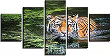ZHONGZHONG 5 Panel Wall Art Pictures Tiger In The