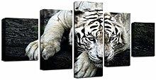 ZHONGZHONG 5 Panel Wall Art Pictures White Tiger