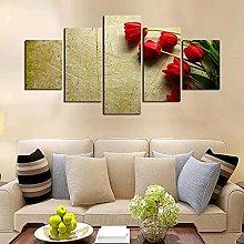 ZHONGZHONG 5 Panel Wall Art Red Rose Scenery