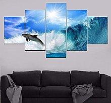 ZHONGZHONG 5 Panel Wall Art Sea Animal Dolphin