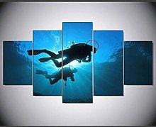 ZHONGZHONG 5 Panel Wall Art Sea Underwater Diver