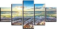 ZHONGZHONG 5 Panel Wall Art Sunrise Sea Landscape
