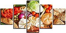ZHONGZHONG 5 Panel Wall Art Vegetable Bread Food