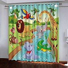Zhoudd Blackout Curtains Cartoon Prairie Animal