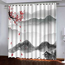 Zhoudd Blackout Curtains Chinese Ink Painting