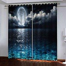 Zhoudd Blackout Curtains Dark Blue Sea Moonlit