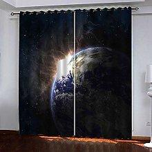Zhoudd Blackout Curtains Deep Night Sky Earth