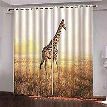 Zhoudd Blackout Curtains Prairie Giraffe Thermal