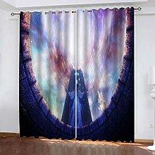 Zhoudd Blackout Curtains Purple Anime Boy