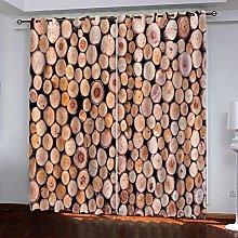 Zhoudd Blackout Curtains Vintage Wood Effect