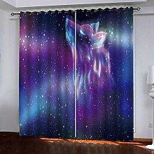 Zhoudd Kids Blackout Curtains Fantasy Purple Stars