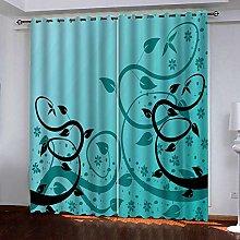 Zhoudd Print Blackout Curtains Turquoise European