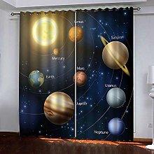 Zhoudd Ultra Soft Curtains Cosmic Planet Mural