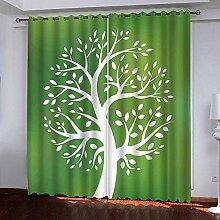 Zhoudd Ultra Soft Curtains Green, Tree Pattern