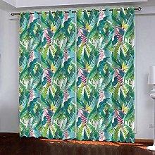 Zhoudd Ultra Soft Curtains Green Tropical Plant