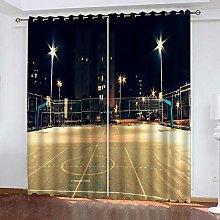 Zhoudd Ultra Soft Curtains Night Basketball Court