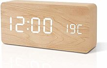 ZHOUYANG Wooden table clock alarm clock LED