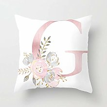 Zhutong Pink White Letter G Cushion Cover English