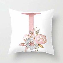 Zhutong Pink White Letter I Cushion Cover English