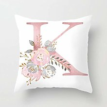 Zhutong Pink White Letter K Cushion Cover English