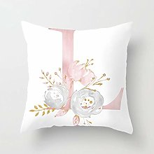 Zhutong Pink White Letter L Cushion Cover English