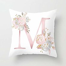 Zhutong Pink White Letter M Cushion Cover English