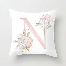 Zhutong Pink White Letter N Cushion Cover English
