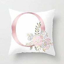 Zhutong Pink White Letter O Cushion Cover English