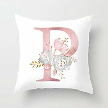 Zhutong Pink White Letter P Cushion Cover English