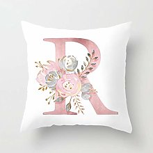 Zhutong Pink White Letter R Cushion Cover English
