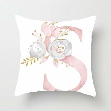 Zhutong Pink White Letter S Cushion Cover English