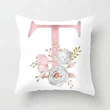 Zhutong Pink White Letter T Cushion Cover English