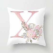 Zhutong Pink White Letter X Cushion Cover English
