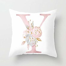 Zhutong Pink White Letter Y Cushion Cover English