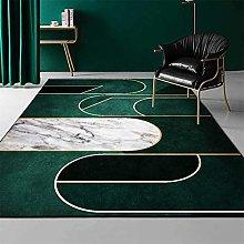 ZIJIAGE Rug carpet,Modern green geometric gold