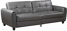 Zinc 3 Seater Faux Leather Sofa Bed with Hidden
