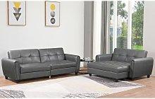 Zinc PU Leather 3STR Sofa Bed with Storage, 2STR