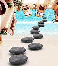 ZJfong Modern Floor Painting Black Beach Pebbles