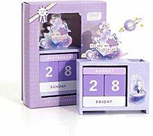 ZJH Desktop Calendar,Wood Perpetual Desk Calendar